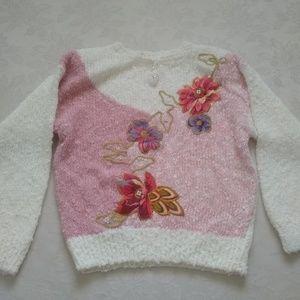 Vintage boucle floral patchwork embellished